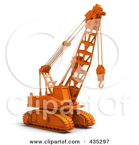 Royalty-Free (RF) Clipart Illustration of a 3d Orange Industrial Construction Crane by Tonis Pan