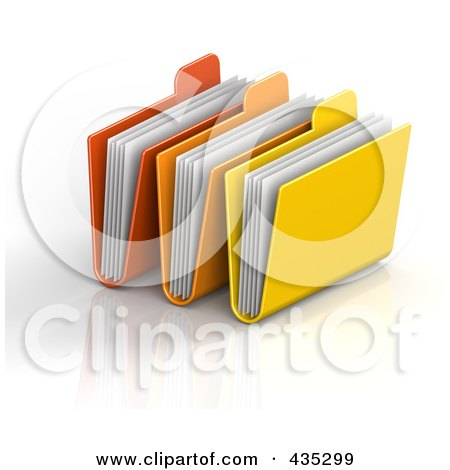 Royalty-Free (RF) Clipart Illustration of 3d Red, Orange And Yellow File Folders With Documents by Tonis Pan