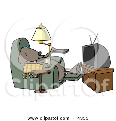 Funny Dog Sitting In a Recliner with a Beer, Changing TV Channels with Remote Controller Clipart by djart