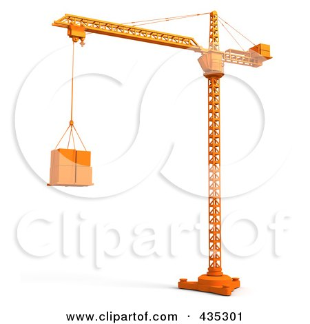Royalty-Free (RF) Clipart Illustration of a 3d Orange Tower Crane Lifting Boxes by Tonis Pan