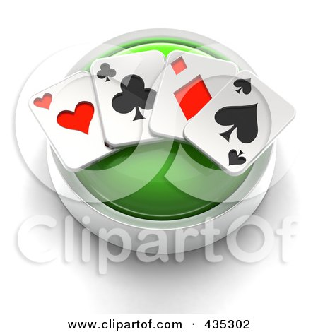 Royalty-Free (RF) Clipart Illustration of a 3d Green Playing Card Button by Tonis Pan