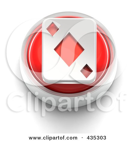 Royalty-Free (RF) Clipart Illustration of a 3d Red Diamond Playing Card Button by Tonis Pan