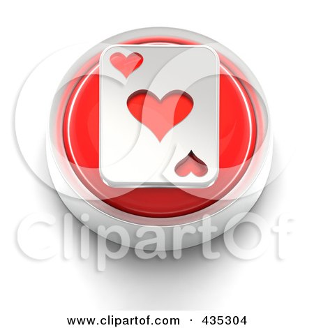Royalty-Free (RF) Clipart Illustration of a 3d Red Heart Playing Card Button by Tonis Pan