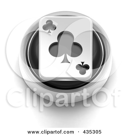 Royalty-Free (RF) Clipart Illustration of a 3d Black Club Playing Card Button by Tonis Pan