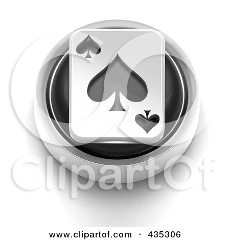 Royalty-Free (RF) Clipart Illustration of a 3d Black Spade Playing Card Button by Tonis Pan