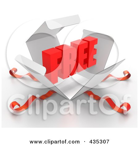Royalty-Free (RF) Clipart Illustration of a 3d Word FREE Bursting Out Through A White Box, With Red Ribbons by Tonis Pan