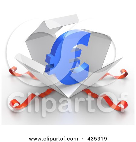 Royalty-Free (RF) Clipart Illustration of a 3d Euro Symbol Bursting Out Through A White Box, With Red Ribbons by Tonis Pan