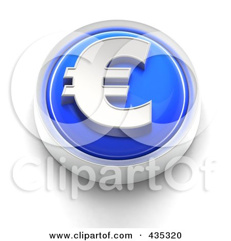 Royalty-Free (RF) Clipart Illustration of a 3d Blue Euro Button by Tonis Pan