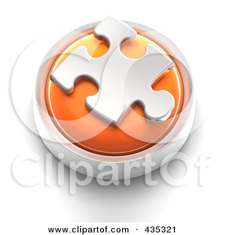 Royalty-Free (RF) Clipart Illustration of a 3d Orange Puzzle Piece Button by Tonis Pan