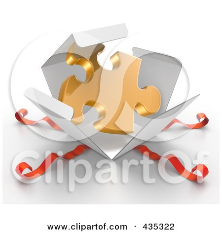 Royalty-Free (RF) Clipart Illustration of a 3d Gold Puzzle Piece Bursting Out Through A White Box, With Red Ribbons by Tonis Pan