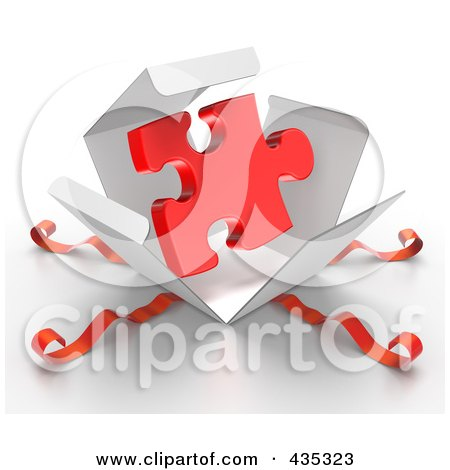 Royalty-Free (RF) Clipart Illustration of a 3d Red Puzzle Piece Bursting Out Through A White Box, With Red Ribbons by Tonis Pan