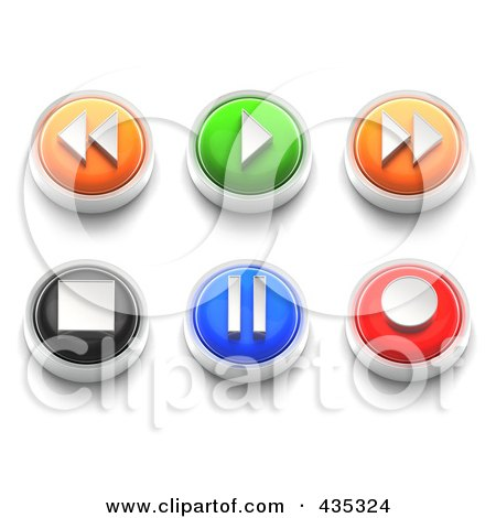 Royalty-Free (RF) Clipart Illustration of a Digital Collage Of 3d Colorful Rewind, Forward, Plau, Stop, Record And Pause Buttons by Tonis Pan