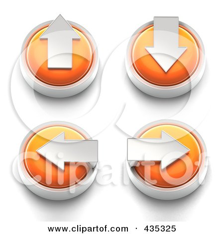 Royalty-Free (RF) Clipart Illustration of a Digital Collage of 3d Orange Arrow Buttons by Tonis Pan