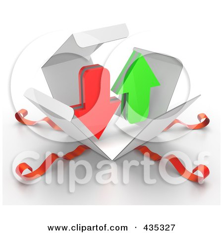 Royalty-Free (RF) Clipart Illustration of 3d Upload And Download Arrows Bursting Out Through A White Box, With Red Ribbons by Tonis Pan