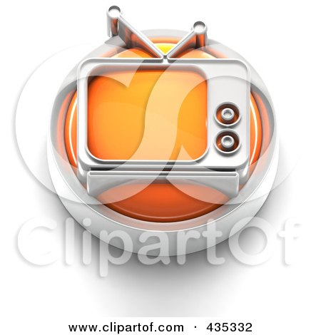 Royalty-Free (RF) Clipart Illustration of a 3d Orange Tv Button by Tonis Pan
