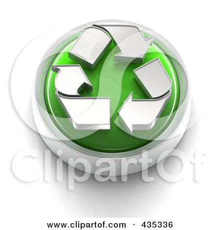 Royalty-Free (RF) Clipart Illustration of a 3d Green Recycle Button by Tonis Pan
