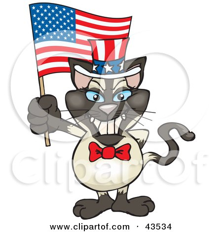 Clipart Illustration of a Patriotic Uncle Sam Siamese Cat Waving An American Flag On Independence Day by Dennis Holmes Designs