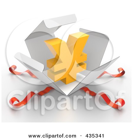 Royalty-Free (RF) Clipart Illustration of a 3d Yen Symbol Bursting Out Through A White Box, With Red Ribbons by Tonis Pan
