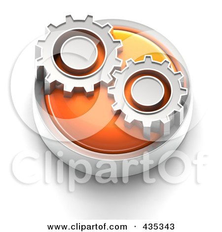 Royalty-Free (RF) Clipart Illustration of a 3d Orange Gears Button by Tonis Pan