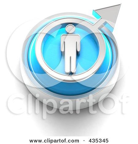 3d Blue Male Gender Button Posters, Art Prints