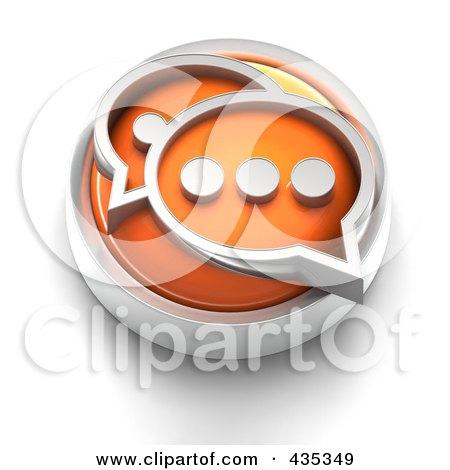 Royalty-Free (RF) Clipart Illustration of a 3d Orange Chat Button by Tonis Pan