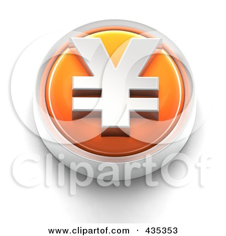 Royalty-Free (RF) Clipart Illustration of a 3d Orange Yen Button by Tonis Pan
