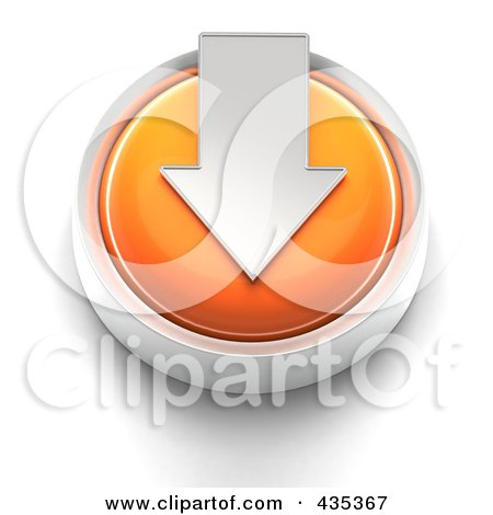 Royalty-Free (RF) Clipart Illustration of a 3d Orange Download Button by Tonis Pan