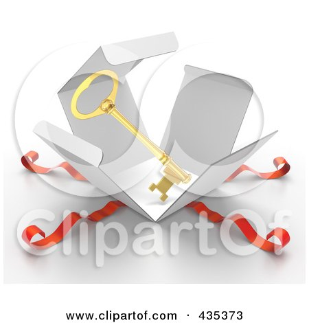 Royalty-Free (RF) Clipart Illustration of a 3d Gold Key Bursting Out Through A White Box, With Red Ribbons by Tonis Pan