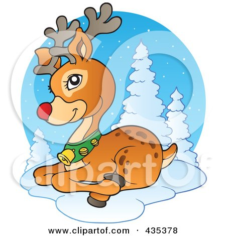 Royalty-Free (RF) Clipart Illustration of Rudolph The Red Nose Reindeer Resting In The Snow by visekart