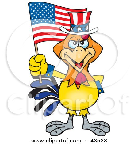Clipart Illustration of a Patriotic Uncle Sam Rooster Waving An American Flag On Independence Day by Dennis Holmes Designs