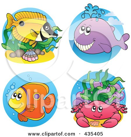 Royalty-Free (RF) Clipart Illustration of a Digital Collage Of Sea Creatures - 4 by visekart
