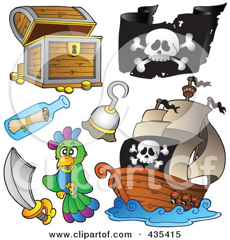 Royalty-Free (RF) Clipart Illustration of a Digital Collage Of A Treasure Chest, Pirate Flag, Pirate Ship, Hook, Message In A Bottle, Sword And Parrot by visekart