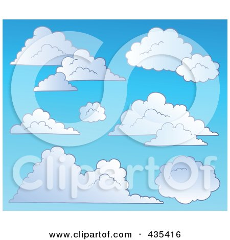 Royalty-Free (RF) Clipart Illustration of a Blue Sky With Clouds - 3 by visekart