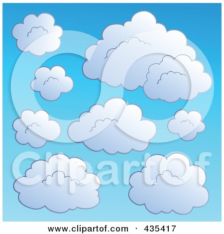 Royalty-Free (RF) Clipart Illustration of a Blue Sky With Clouds - 1 by visekart