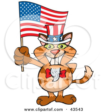 Clipart Illustration of a Patriotic Uncle Sam Orange Cat Waving An American Flag On Independence Day by Dennis Holmes Designs
