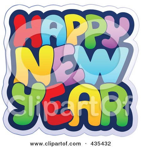 Royalty-Free (RF) Clipart Illustration of a Colorful Happy New Year Greeting by visekart