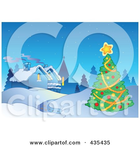 Royalty Free RF Clipart Illustration Of A Christmas Tree