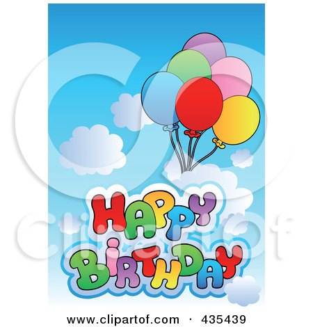 Royalty-Free (RF) Clipart Illustration of Happy Birthday Text With Balloons In A Cloudy Sky by visekart