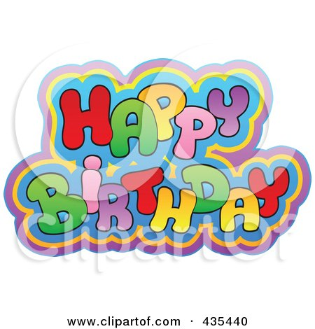 Royalty-Free (RF) Clipart Illustration of Colorful Happy Birthday Text by visekart