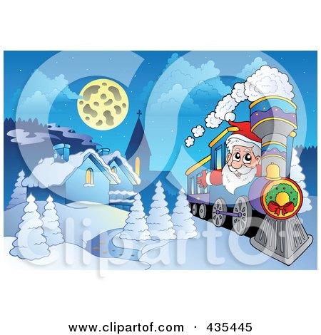 Royalty Free RF Christmas Train Clipart Illustrations