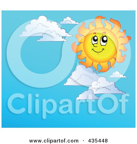 Royalty-Free (RF) Clipart Illustration of a Happy Sun Over A Blue Sky Background by visekart