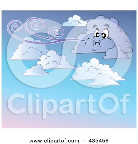 Royalty-Free (RF) Clipart Illustration of a Windy Cloud In A Gradient Sky by visekart
