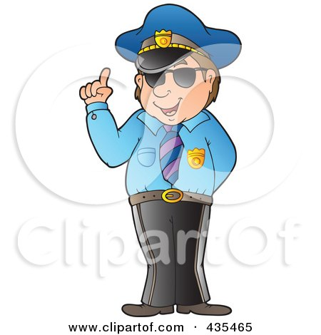 Royalty-Free (RF) Clipart Illustration of an Advising Police Officer by visekart