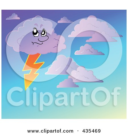 Royalty-Free (RF) Clipart Illustration of a Stormy Cloud In A Gradient Sky by visekart
