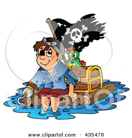 Royalty-Free (RF) Clipart Illustration of a Pirate Floating On A Raft With A Treasure Chest, Parrot And Flag by visekart