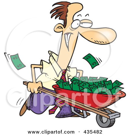 Royalty-Free (RF) Clipart Illustration of a Caucasian Businessman Pushing A Wheelbarrow Full Of Cash by toonaday