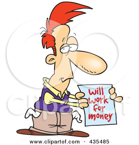 Royalty-Free (RF) Clipart Illustration of a Broke Cartoon Man Holding A Will Work For Money Sign by toonaday