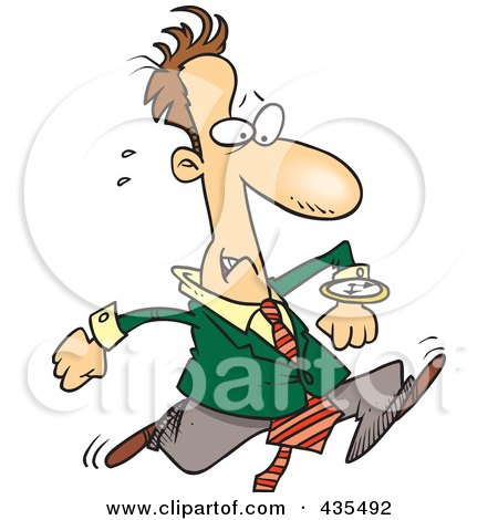 Royalty-Free (RF) Clipart Illustration of a Late Cartoon Businessman Running And Glancing At His Watch by toonaday