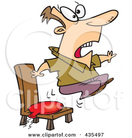 Royalty-Free (RF) Clipart Illustration of a Cartoon Man Bouncing Out Of His Chair After Sitting On A Whoopee Cushion by toonaday