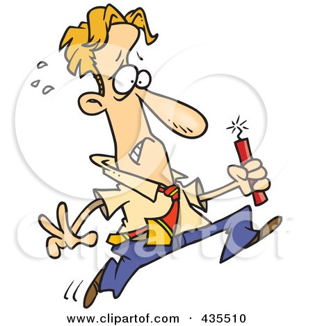 Royalty-Free (RF) Clipart Illustration of a Worried Caucasian Businessman Running With Dynamite by toonaday